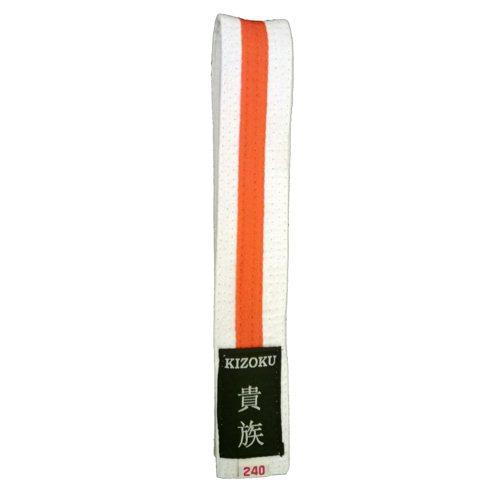 Raitavyö valko-oranssi-valko Kizoku, valkoinen pohjaväri-0