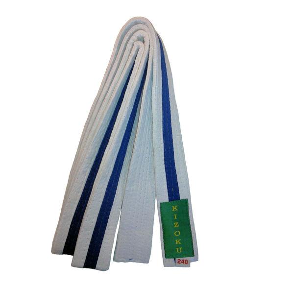 Raitavyö valko-sininen-valko Kizoku, valkoinen pohjaväri-0
