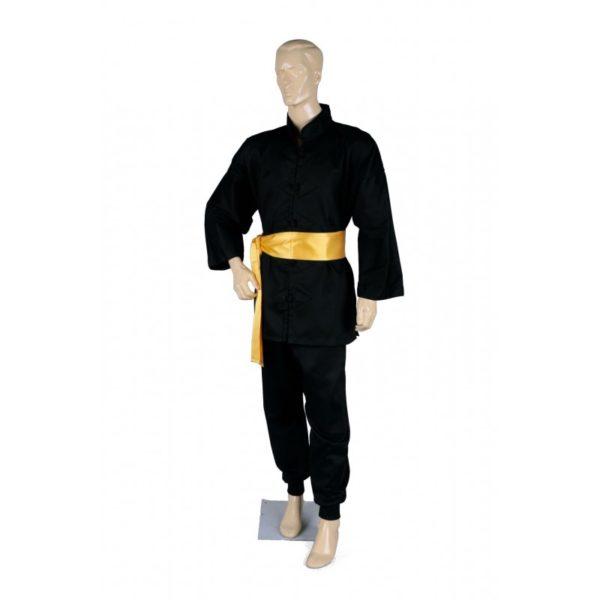 Kung Fu puku puuvillaa musta